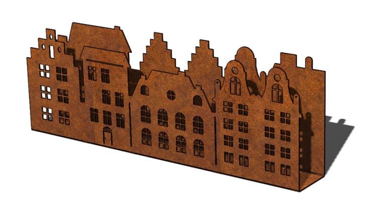 Cortenstalen Amsterdams grachtenstraatje